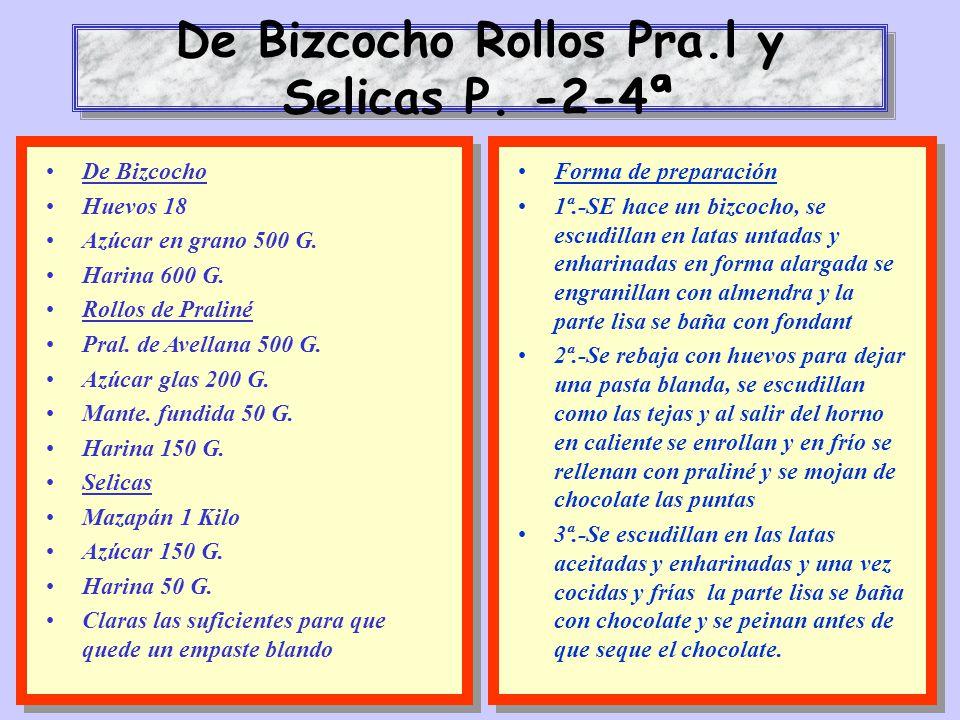 De Bizcocho Rollos Pra.l y Selicas P. -2-4ª