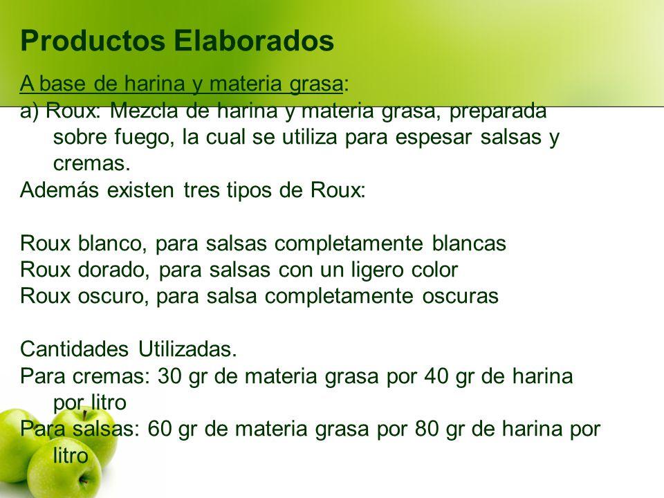 Productos Elaborados A base de harina y materia grasa: