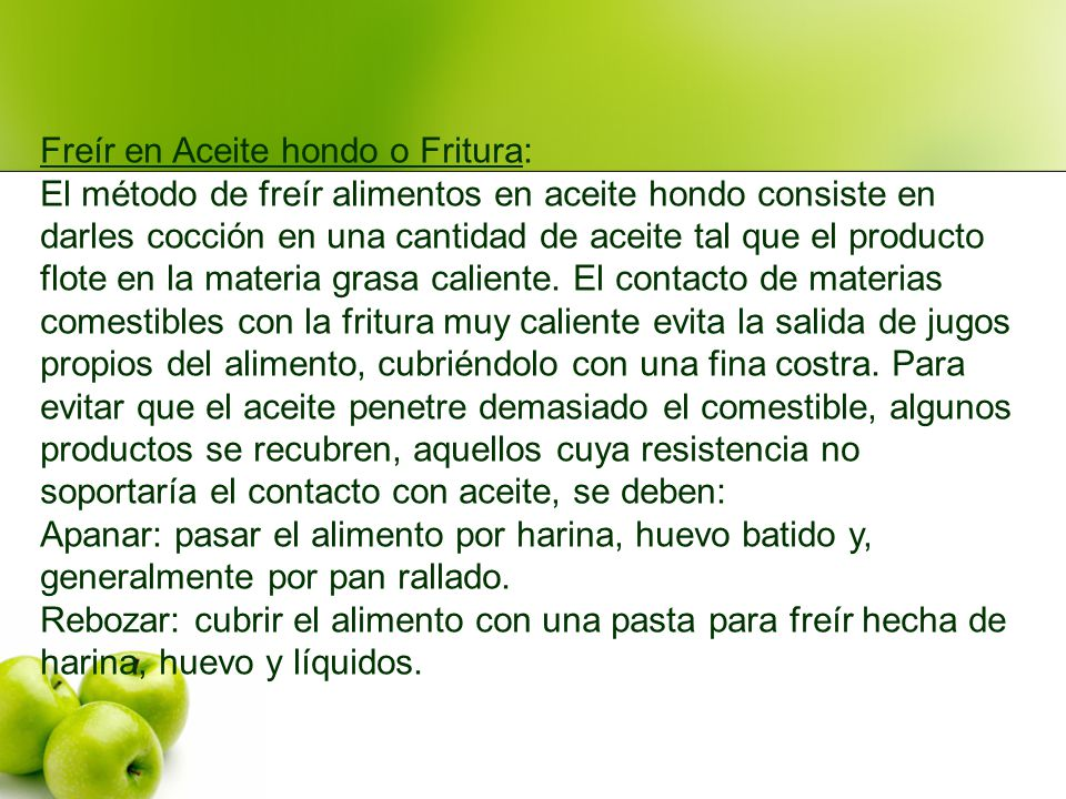 Freír en Aceite hondo o Fritura: