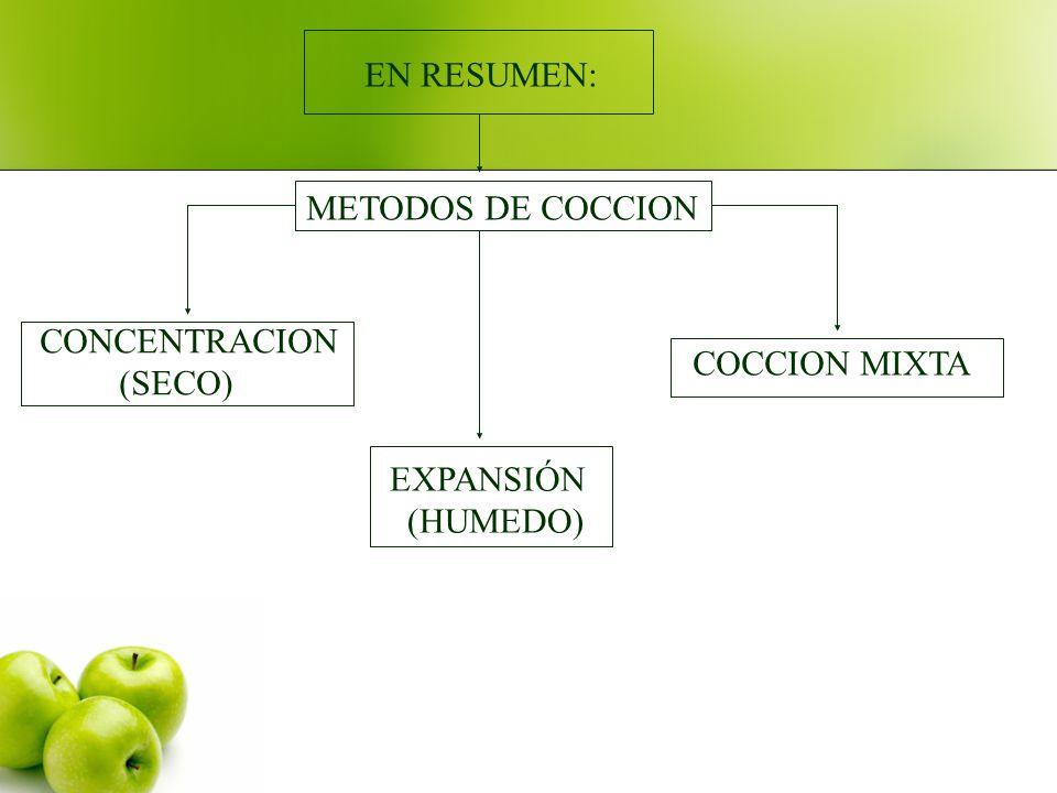 EN RESUMEN: METODOS DE COCCION CONCENTRACION (SECO) COCCION MIXTA EXPANSIÓN (HUMEDO)