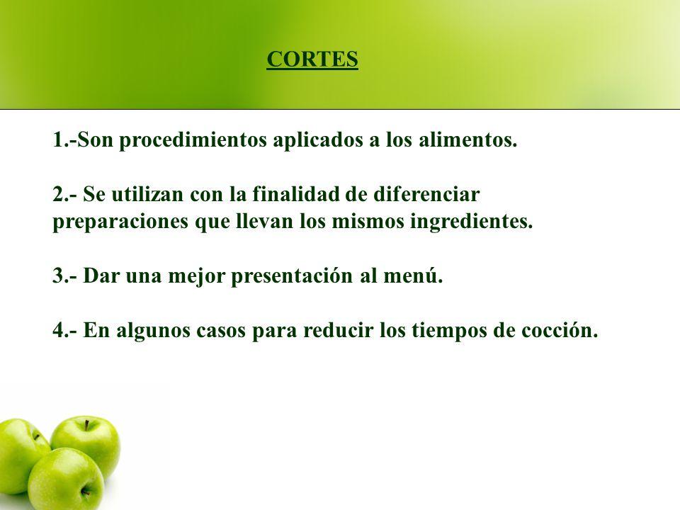 CORTES 1.-Son procedimientos aplicados a los alimentos. 2.- Se utilizan con la finalidad de diferenciar.