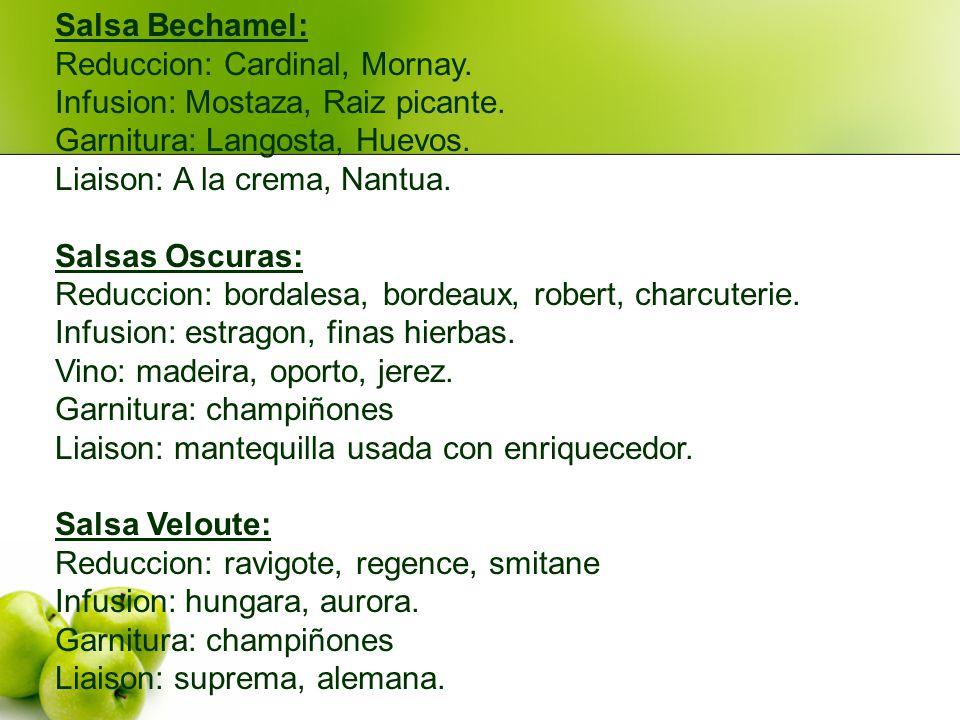 Salsa Bechamel: Reduccion: Cardinal, Mornay. Infusion: Mostaza, Raiz picante. Garnitura: Langosta, Huevos.