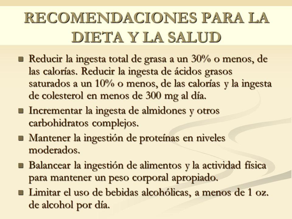 RECOMENDACIONES PARA LA DIETA Y LA SALUD