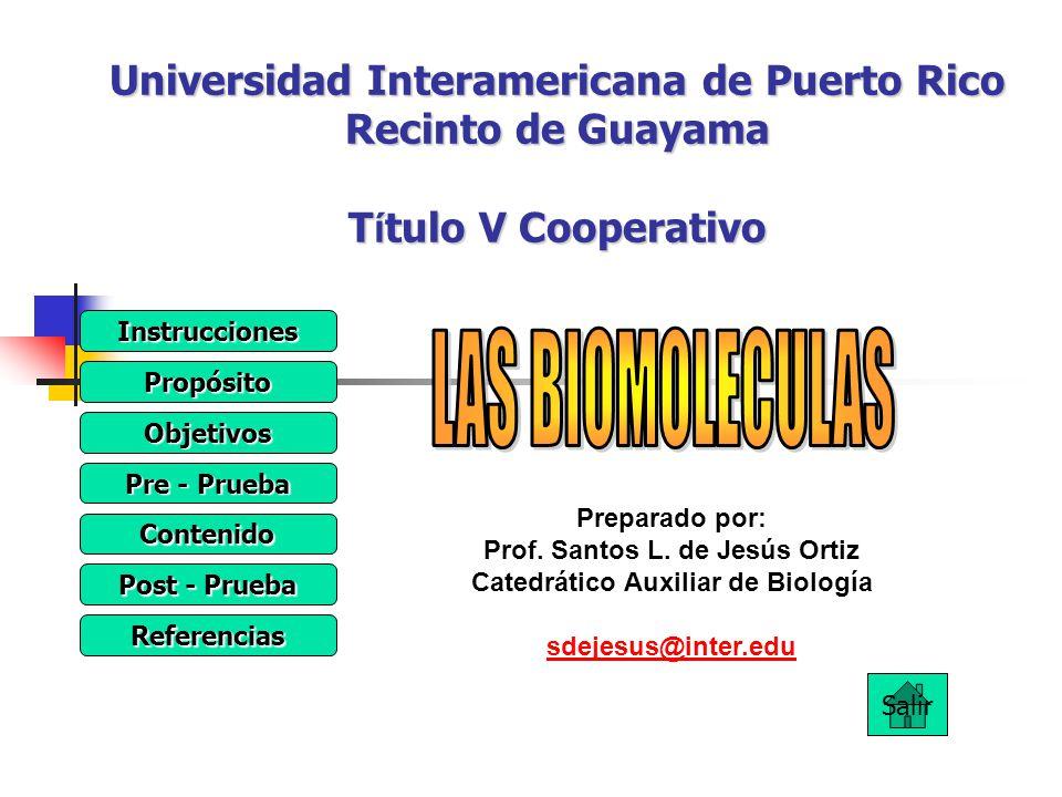 Prof. Santos L. de Jesús Ortiz Catedrático Auxiliar de Biología