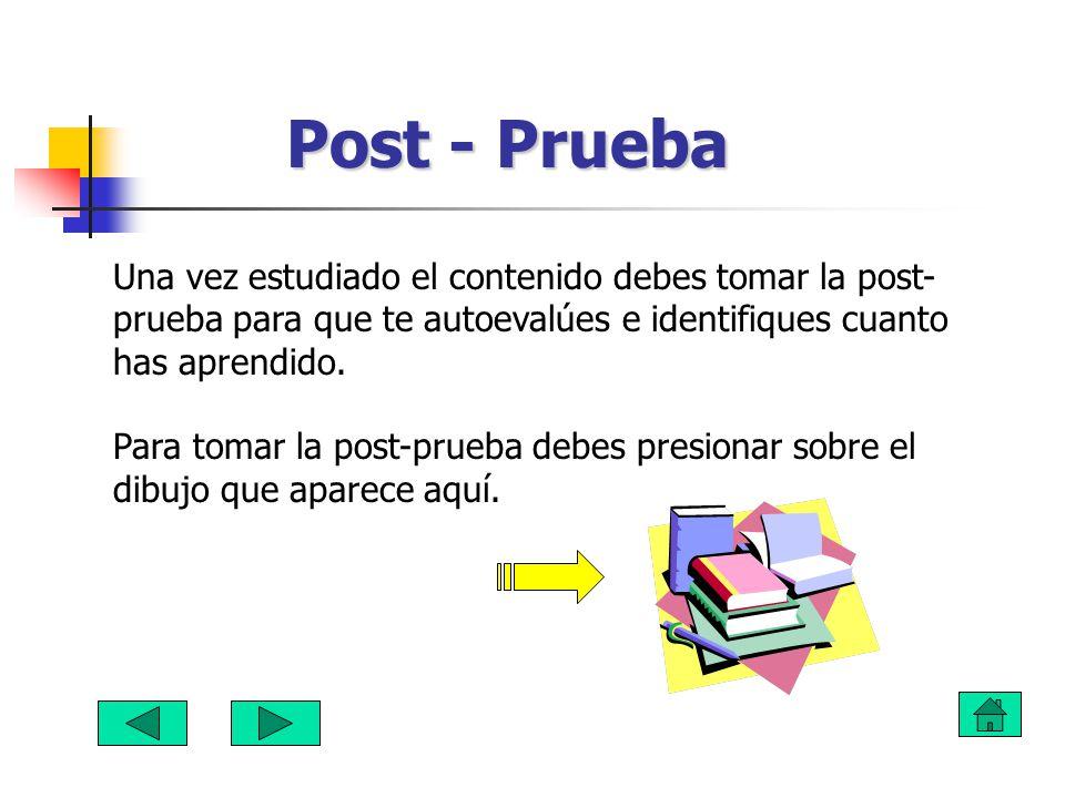 Post - Prueba Una vez estudiado el contenido debes tomar la post-prueba para que te autoevalúes e identifiques cuanto has aprendido.