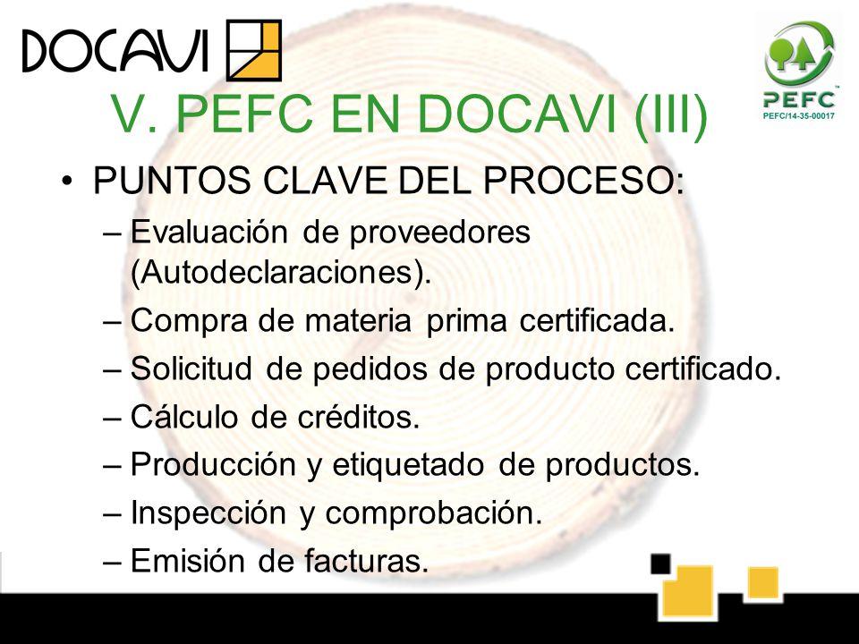V. PEFC EN DOCAVI (III) PUNTOS CLAVE DEL PROCESO: