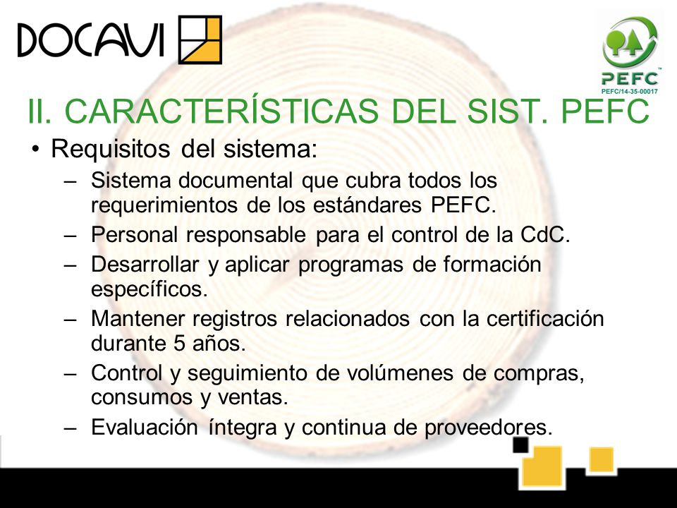 II. CARACTERÍSTICAS DEL SIST. PEFC