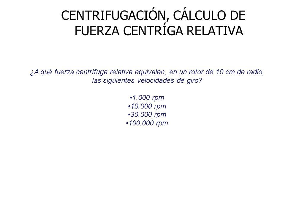 CENTRIFUGACIÓN, CÁLCULO DE FUERZA CENTRÍGA RELATIVA