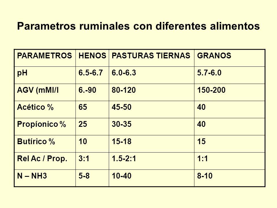 Parametros ruminales con diferentes alimentos