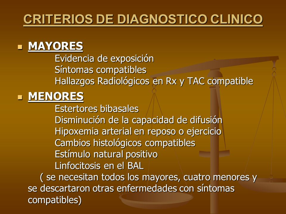 CRITERIOS DE DIAGNOSTICO CLINICO