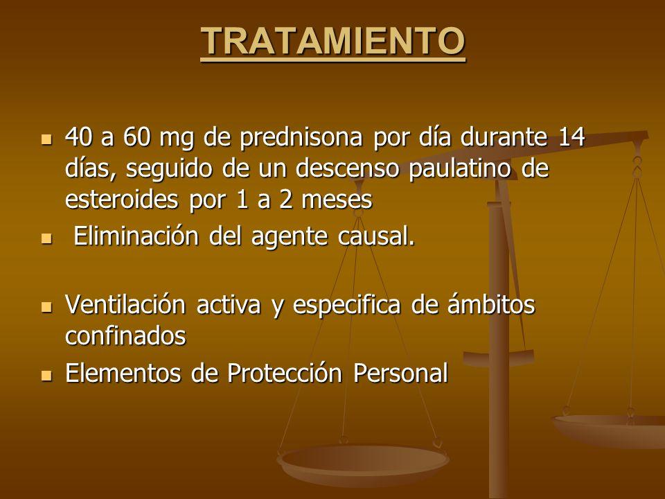TRATAMIENTO 40 a 60 mg de prednisona por día durante 14 días, seguido de un descenso paulatino de esteroides por 1 a 2 meses.