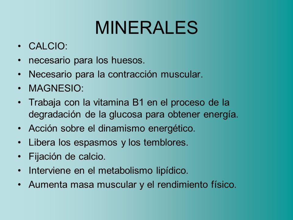 MINERALES CALCIO: necesario para los huesos.