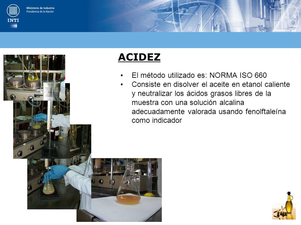 ACIDEZ El método utilizado es: NORMA ISO 660