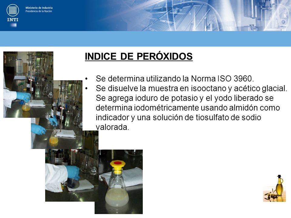 INDICE DE PERÓXIDOS Se determina utilizando la Norma ISO 3960.