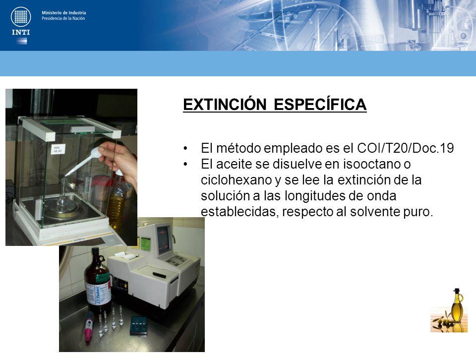 EXTINCIÓN ESPECÍFICA El método empleado es el COI/T20/Doc.19