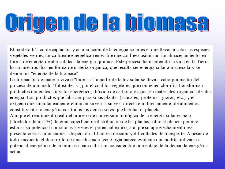 Origen de la biomasa