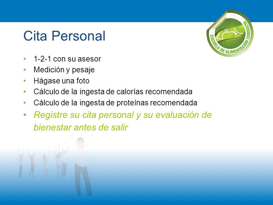 Cita Personal 1-2-1 con su asesor. Medición y pesaje. Hágase una foto. Cálculo de la ingesta de calorías recomendada.