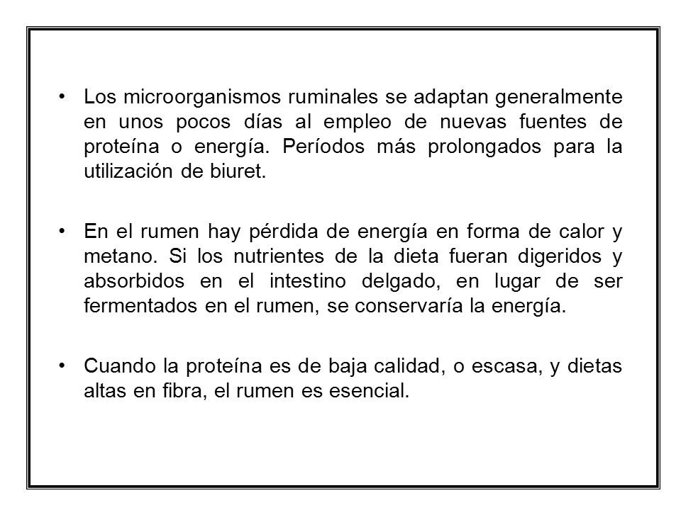 Los microorganismos ruminales se adaptan generalmente en unos pocos días al empleo de nuevas fuentes de proteína o energía. Períodos más prolongados para la utilización de biuret.