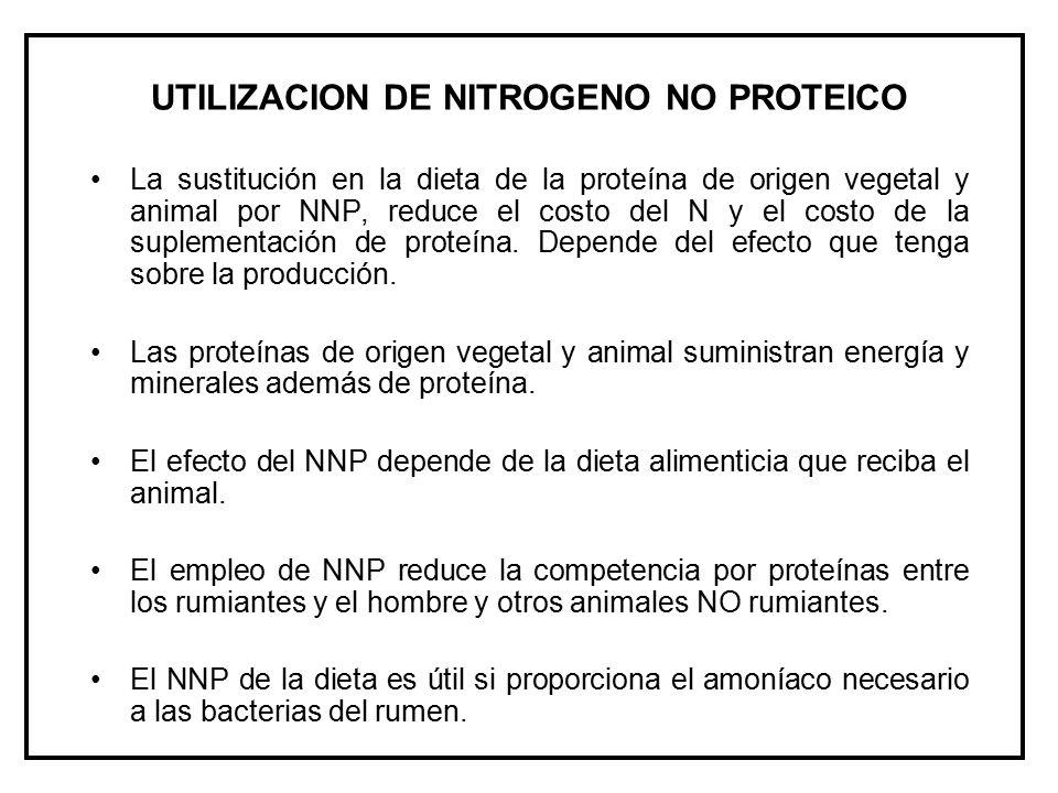 UTILIZACION DE NITROGENO NO PROTEICO