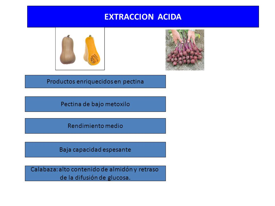 EXTRACCION ACIDA Productos enriquecidos en pectina