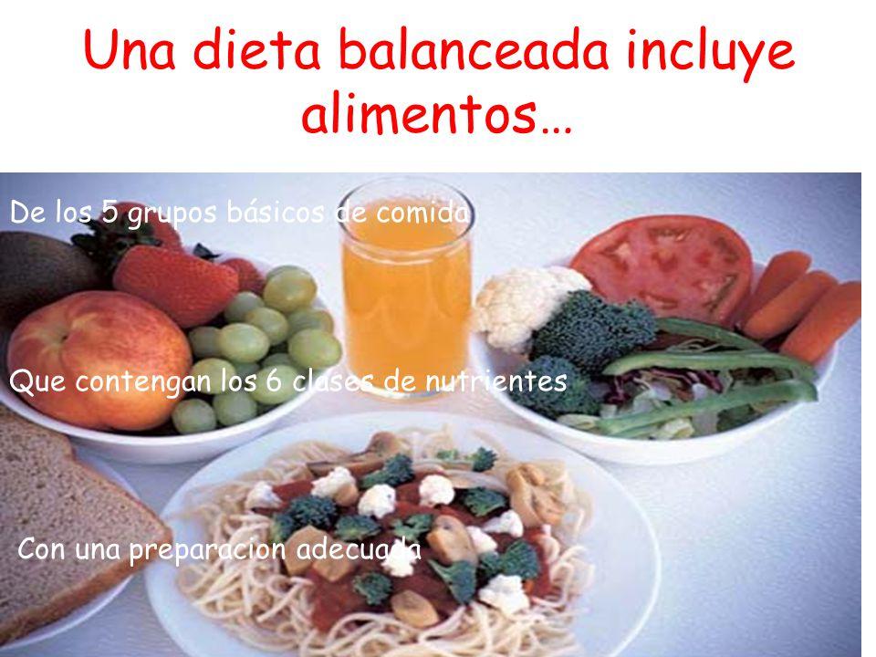 Una dieta balanceada incluye alimentos…