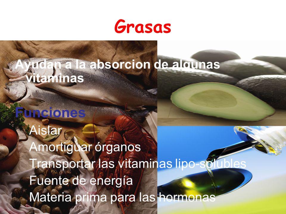 Grasas Funciones Ayudan a la absorcion de algunas vitaminas Aislar