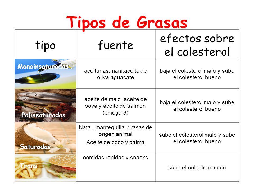 Tipos de Grasas tipo fuente efectos sobre el colesterol