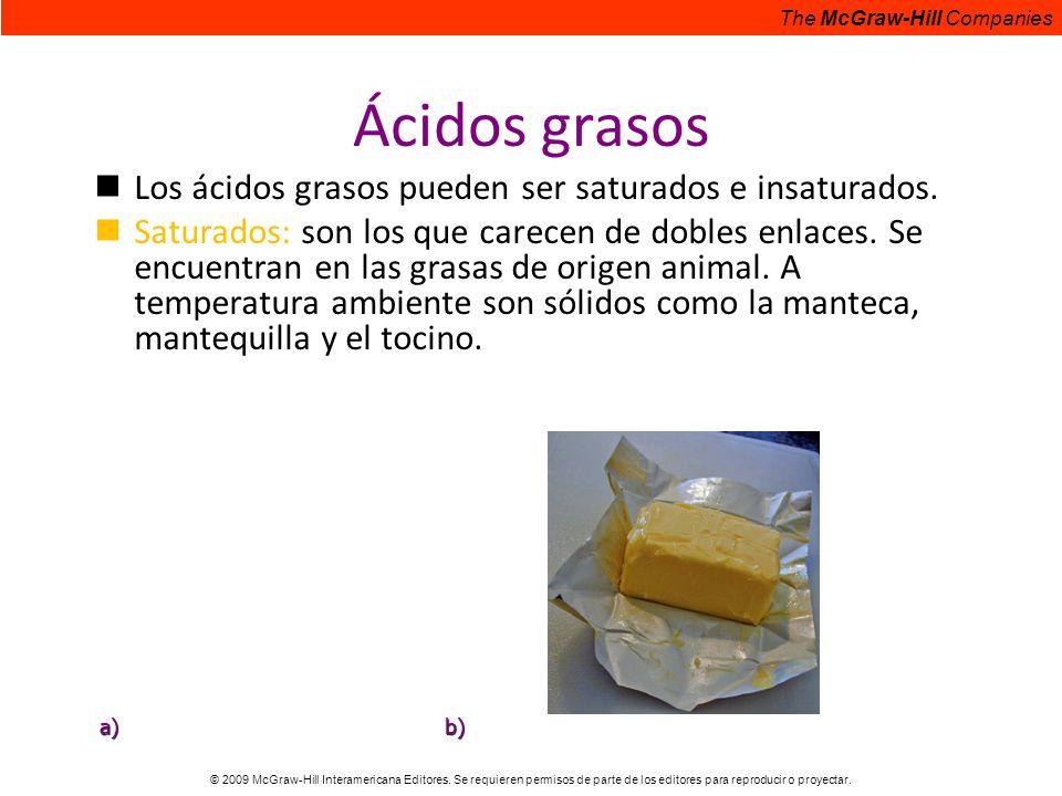 Ácidos grasos Los ácidos grasos pueden ser saturados e insaturados.