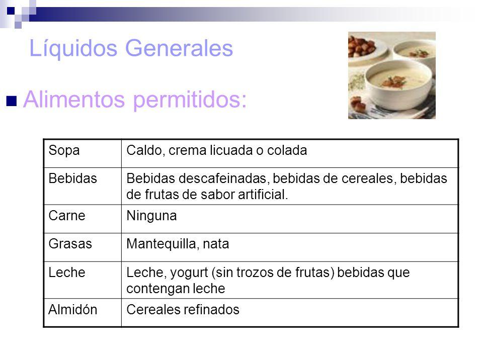 Alimentos permitidos:
