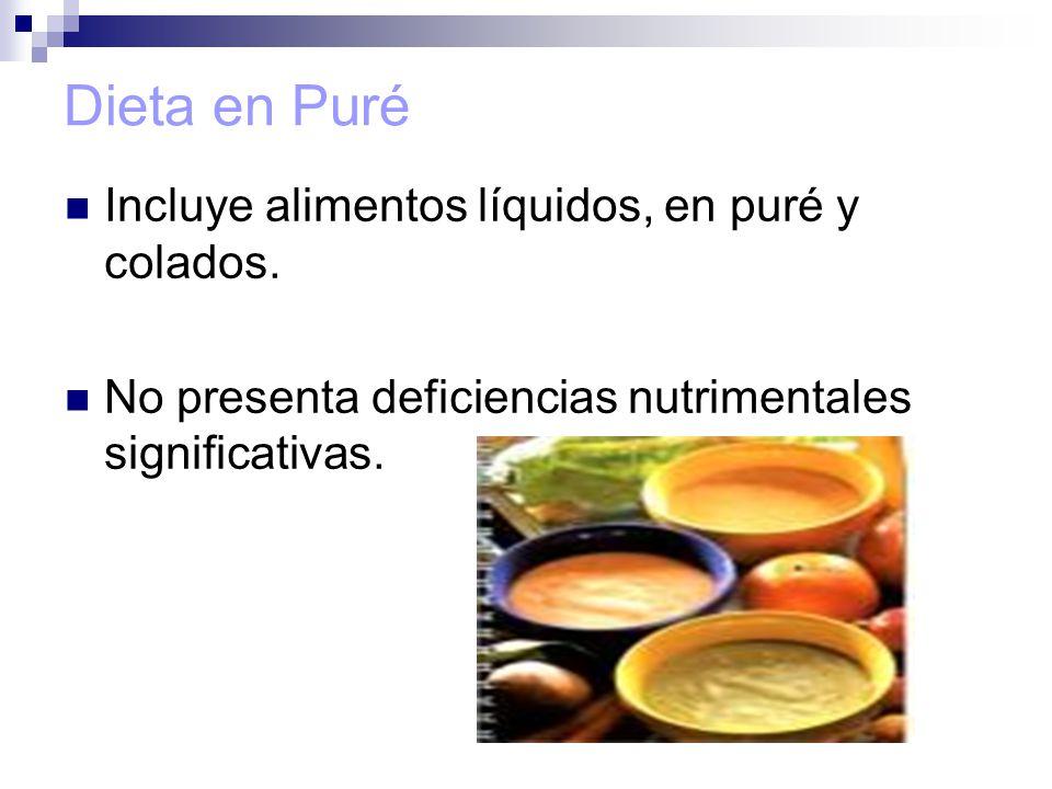 Dieta en Puré Incluye alimentos líquidos, en puré y colados.