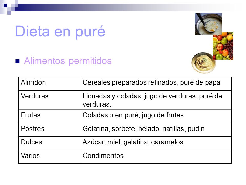 Dieta en puré Alimentos permitidos Almidón