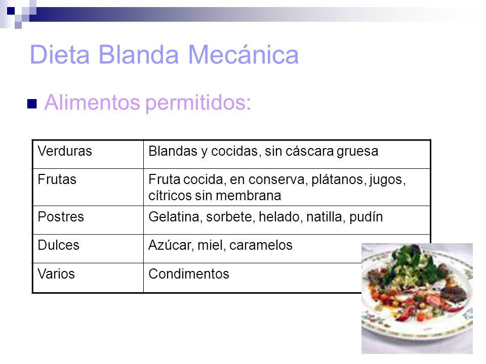 Dieta Blanda Mecánica Alimentos permitidos: Verduras
