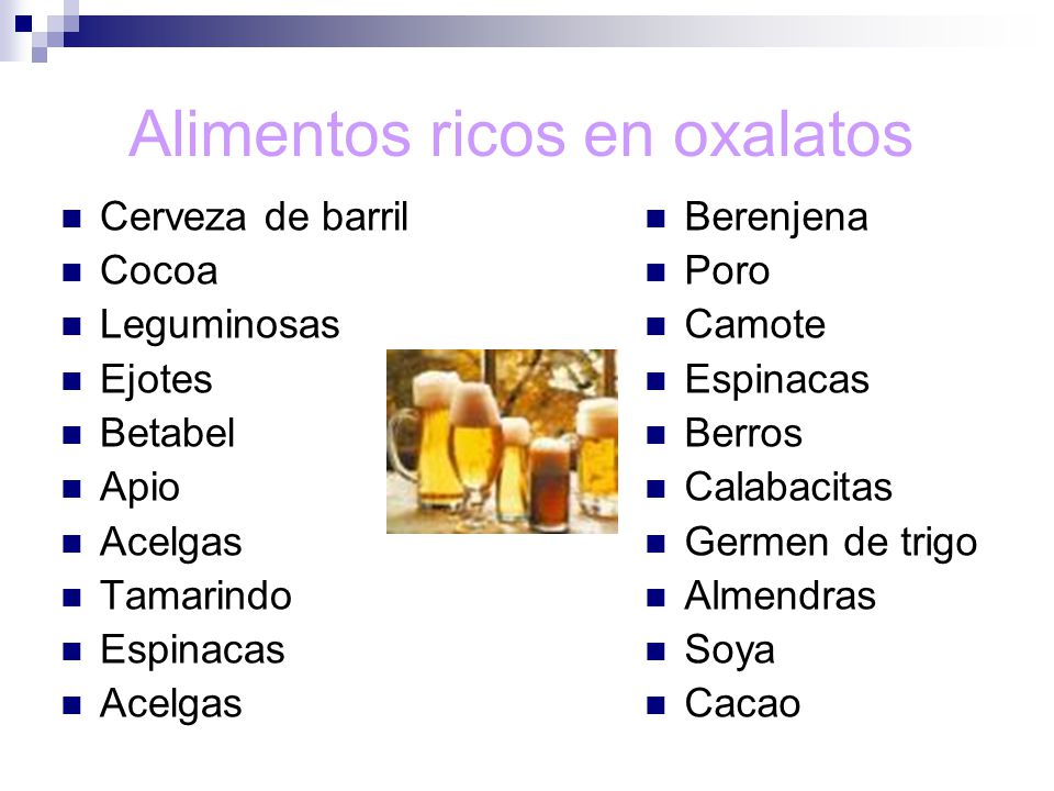 Alimentos ricos en oxalatos
