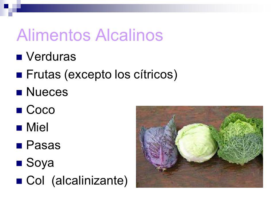 Alimentos Alcalinos Verduras Frutas (excepto los cítricos) Nueces Coco