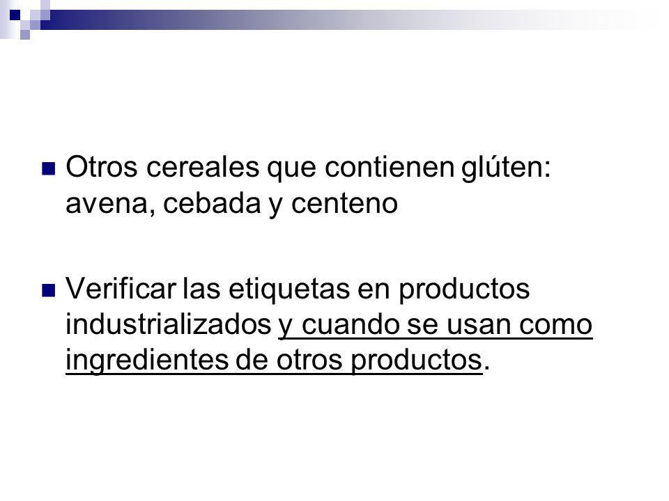 Otros cereales que contienen glúten: avena, cebada y centeno