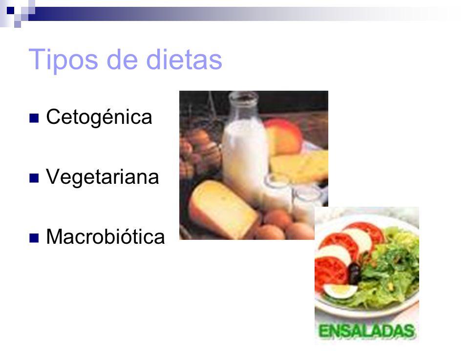 Tipos de dietas Cetogénica Vegetariana Macrobiótica
