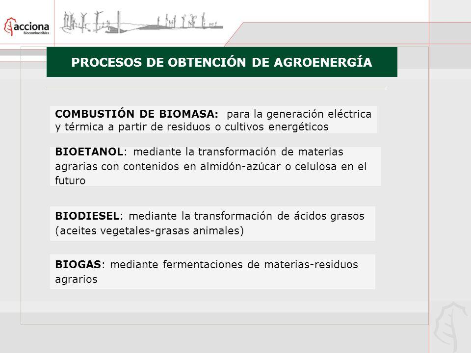 PROCESOS DE OBTENCIÓN DE AGROENERGÍA