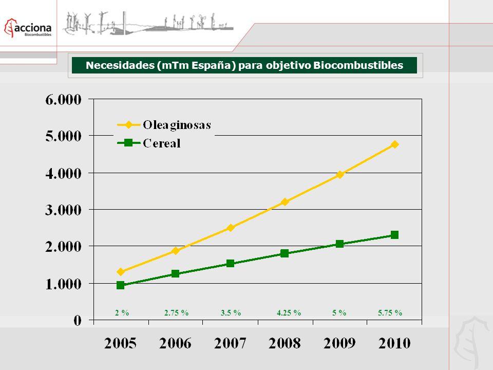 Necesidades (mTm España) para objetivo Biocombustibles