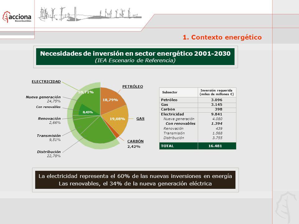 Necesidades de inversión en sector energético 2001-2030