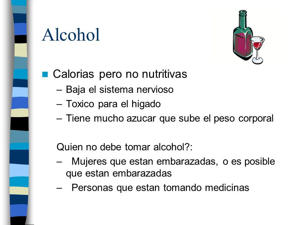 Alcohol Calorias pero no nutritivas Baja el sistema nervioso