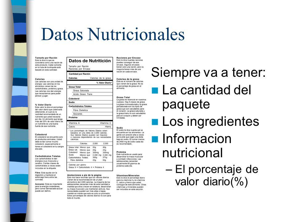 Datos Nutricionales Siempre va a tener: La cantidad del paquete