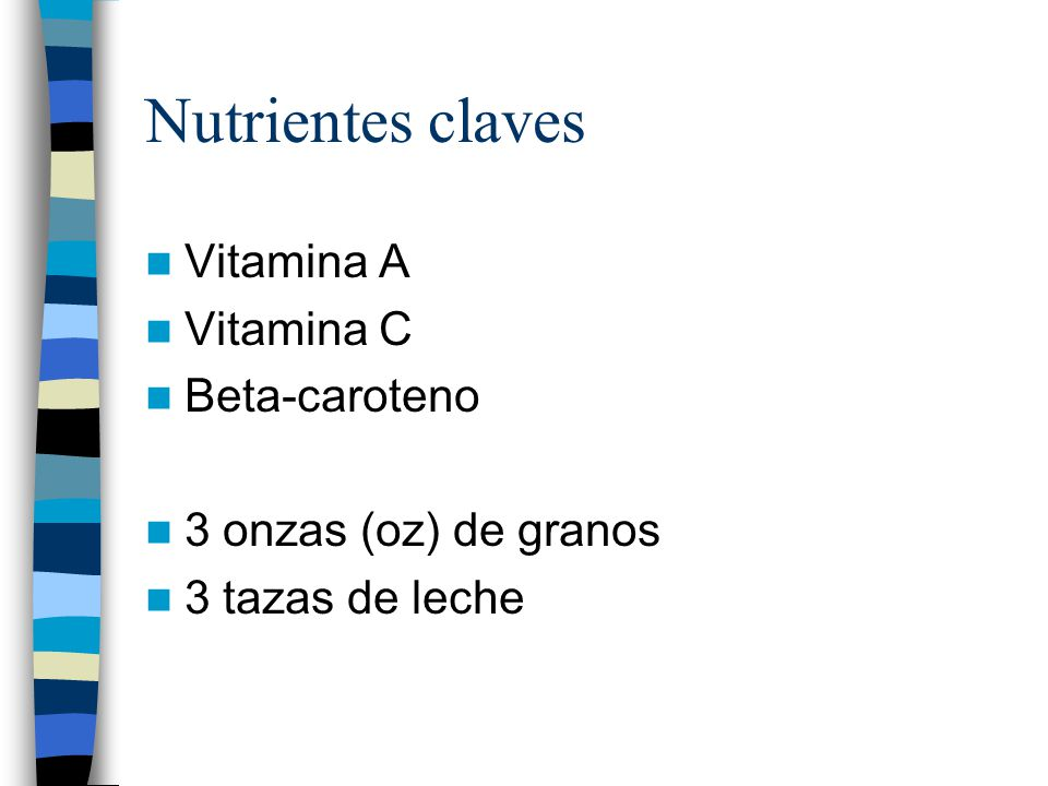 Nutrientes claves Vitamina A Vitamina C Beta-caroteno