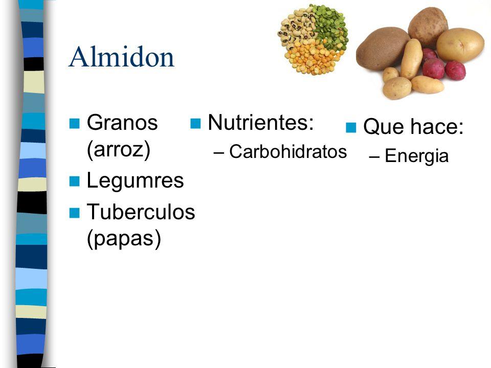 Almidon Granos (arroz) Legumres Tuberculos (papas) Nutrientes: