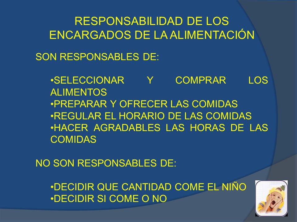 RESPONSABILIDAD DE LOS ENCARGADOS DE LA ALIMENTACIÓN