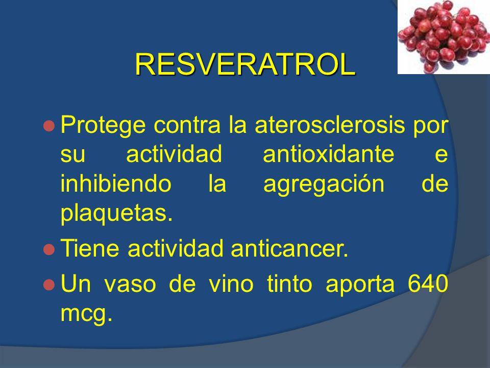 RESVERATROL Protege contra la aterosclerosis por su actividad antioxidante e inhibiendo la agregación de plaquetas.