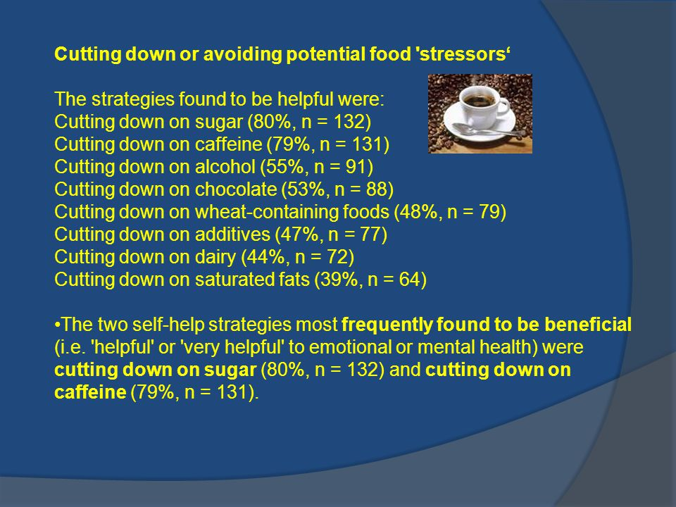 Cutting down or avoiding potential food stressors'