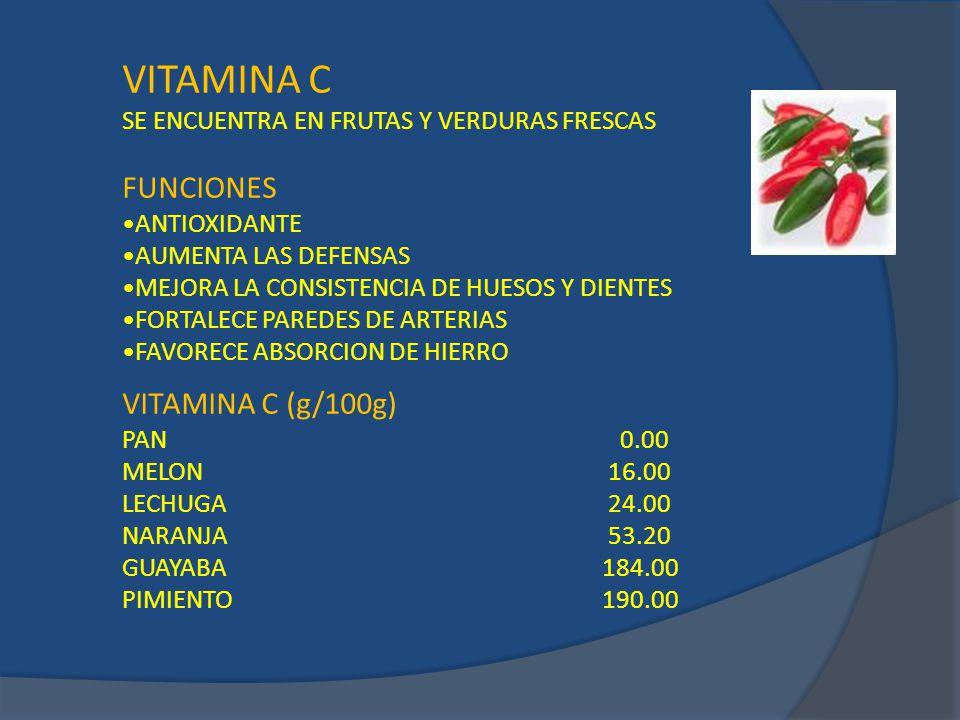 VITAMINA C FUNCIONES VITAMINA C (g/100g)