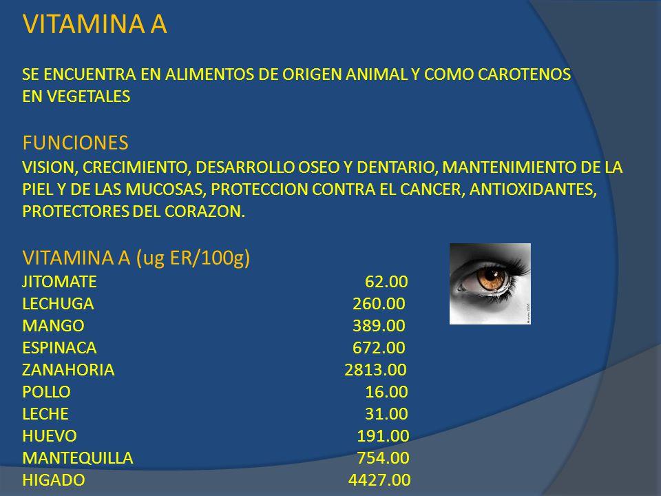 VITAMINA A FUNCIONES VITAMINA A (ug ER/100g)