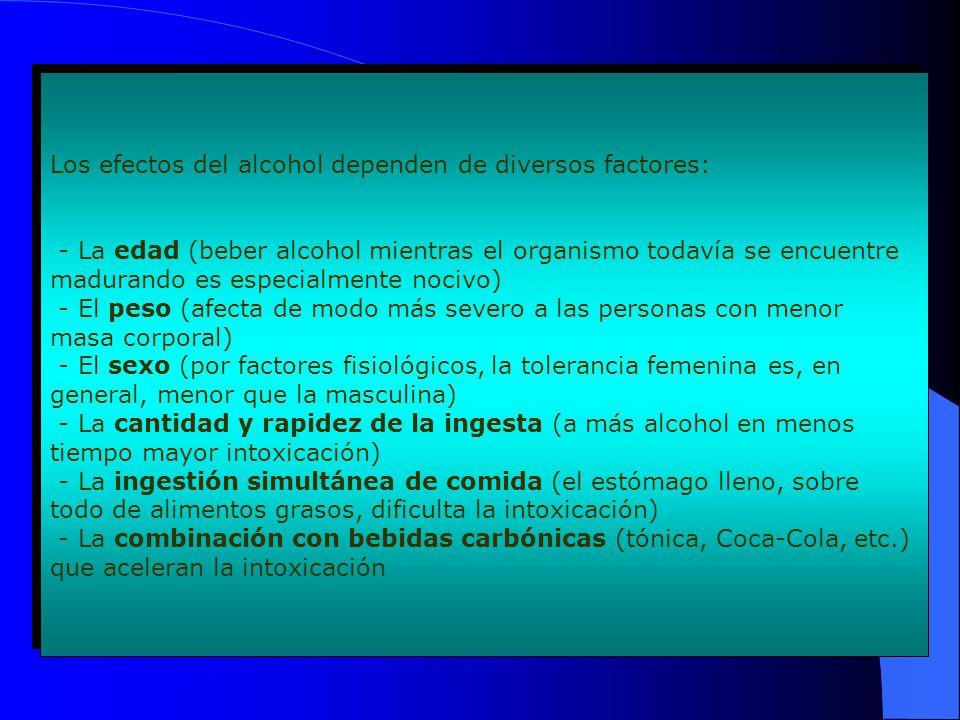 Los efectos del alcohol dependen de diversos factores: