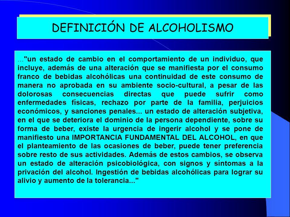 DEFINICIÓN DE ALCOHOLISMO